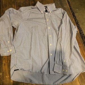 Blue and white checkered dress shirt